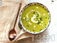 Рецепта Ароматна вегетарианска крем супа от броколи, праз, картофи и джинджифил